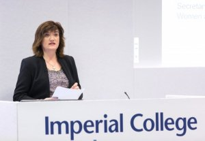 Nicky Morgan MP launching the WomenCount report at Imperial College, London